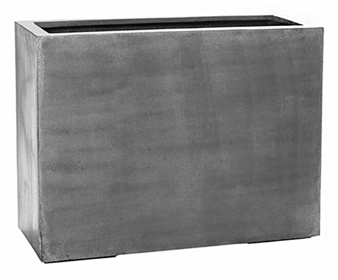 "17 Stories  Creasman Long Rectangular Fiberstone Planter Box Size: 10"" H x 12"" W x 39"" D, Color: Gray"