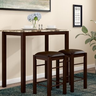 Winston Porter Penelope 3 Piece Counter Height Wood Dining Set