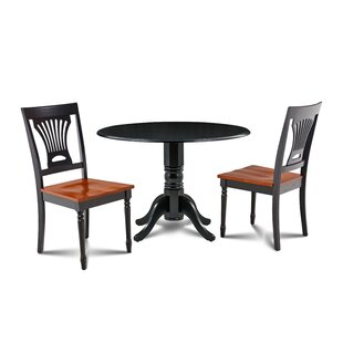 Hornback 3 Piece Drop Leaf Solid Wood Dining Set by August Grove
