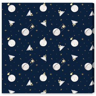 Sheep And The Moon' Graphic Art Print on Wrapped Canvas by HoneyBee Nursery