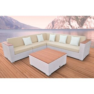 Solis Patio Majestic 5 Piece Rattan Sectional Set with Cushions