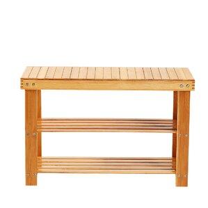 bamboo 2 tier shoe storage bench