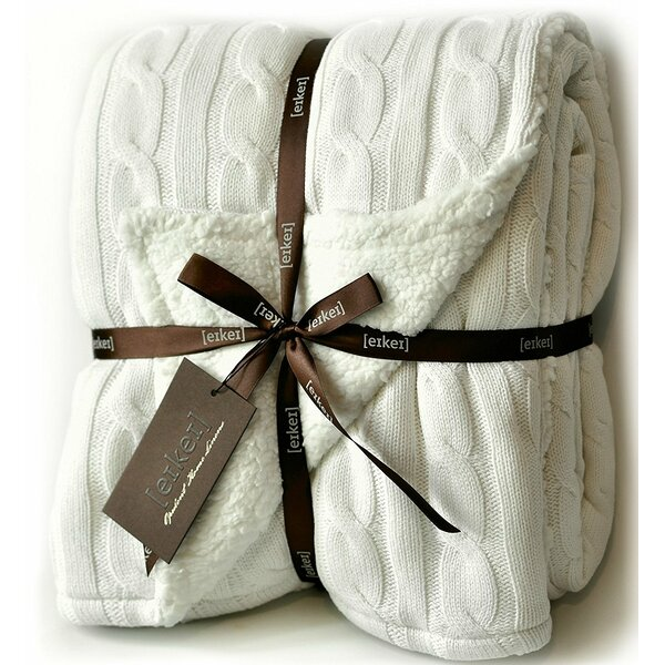 Sweety Pie Inc Cable Knit Sherpa Oversized Faux Sheepskin Lined Cozy Unique White Cable Knit Throw Blanket