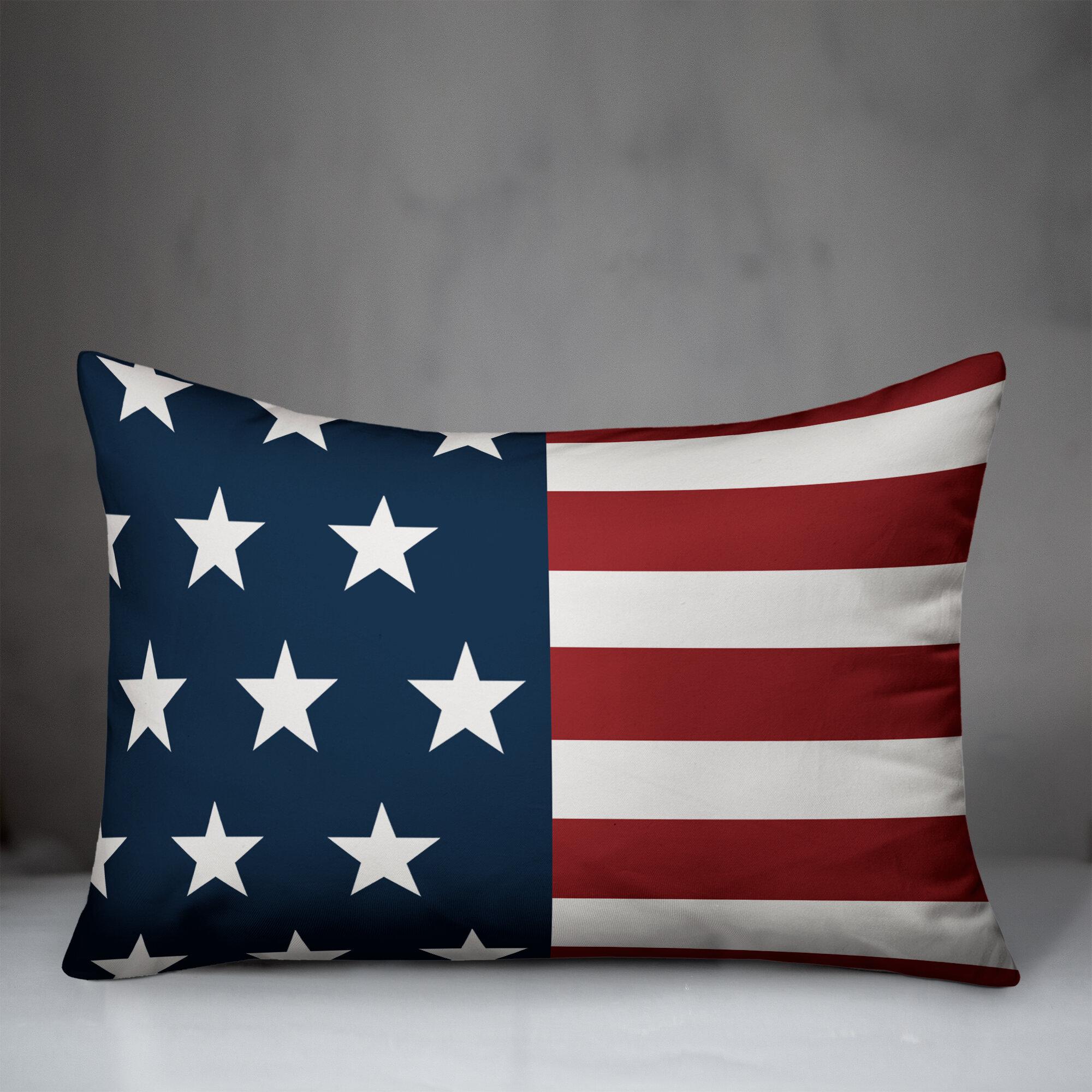 August Grove Willernie American Flag Indoor Outdoor Lumbar Pillow Cover Reviews Wayfair