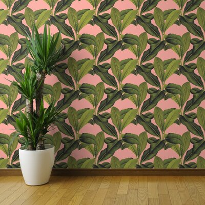 "Arelious Tropical Palm Peel and Stick Wallpaper Panel Bayou Breeze Size: 108"" L x 24"" W"