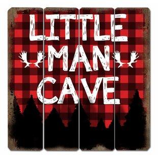 Little Man Cave Plaid Sign Wall Décor