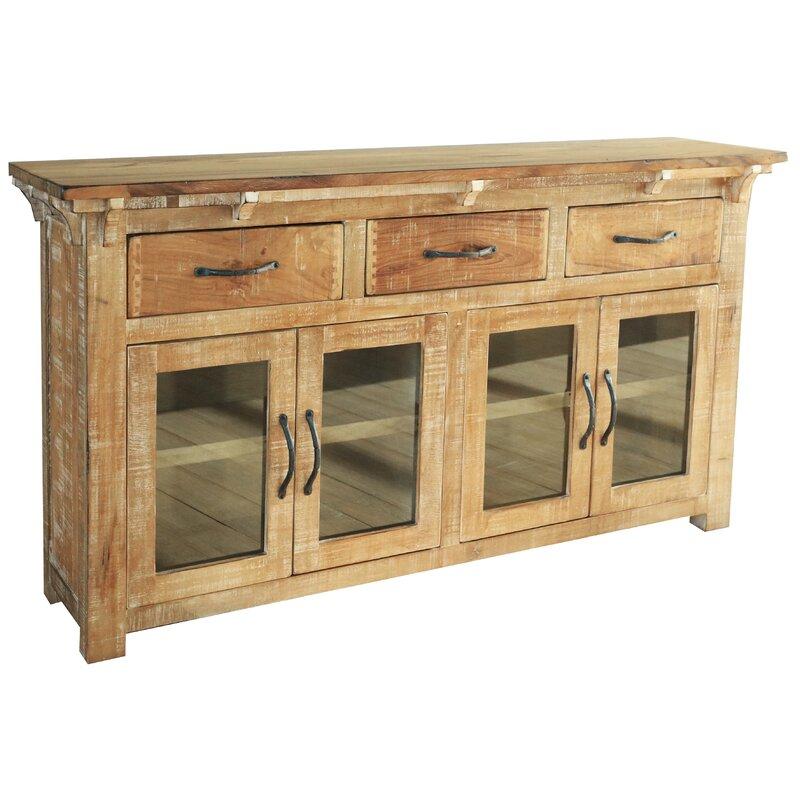 Millwood Pines Stowell 3 Drawer 4 Glass Door Sideboard Wayfair