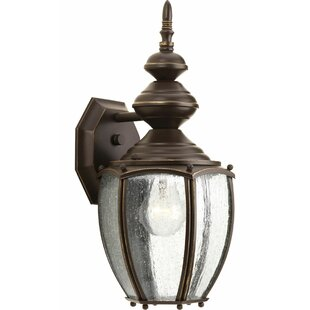 Inexpensive Triplehorn1-Light Wall Lantern in Clear Seeded Glass By Alcott Hill