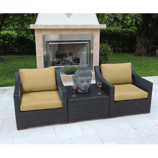 Marcelo 3 Piece Sunbrella Conversation Set with Cushions
