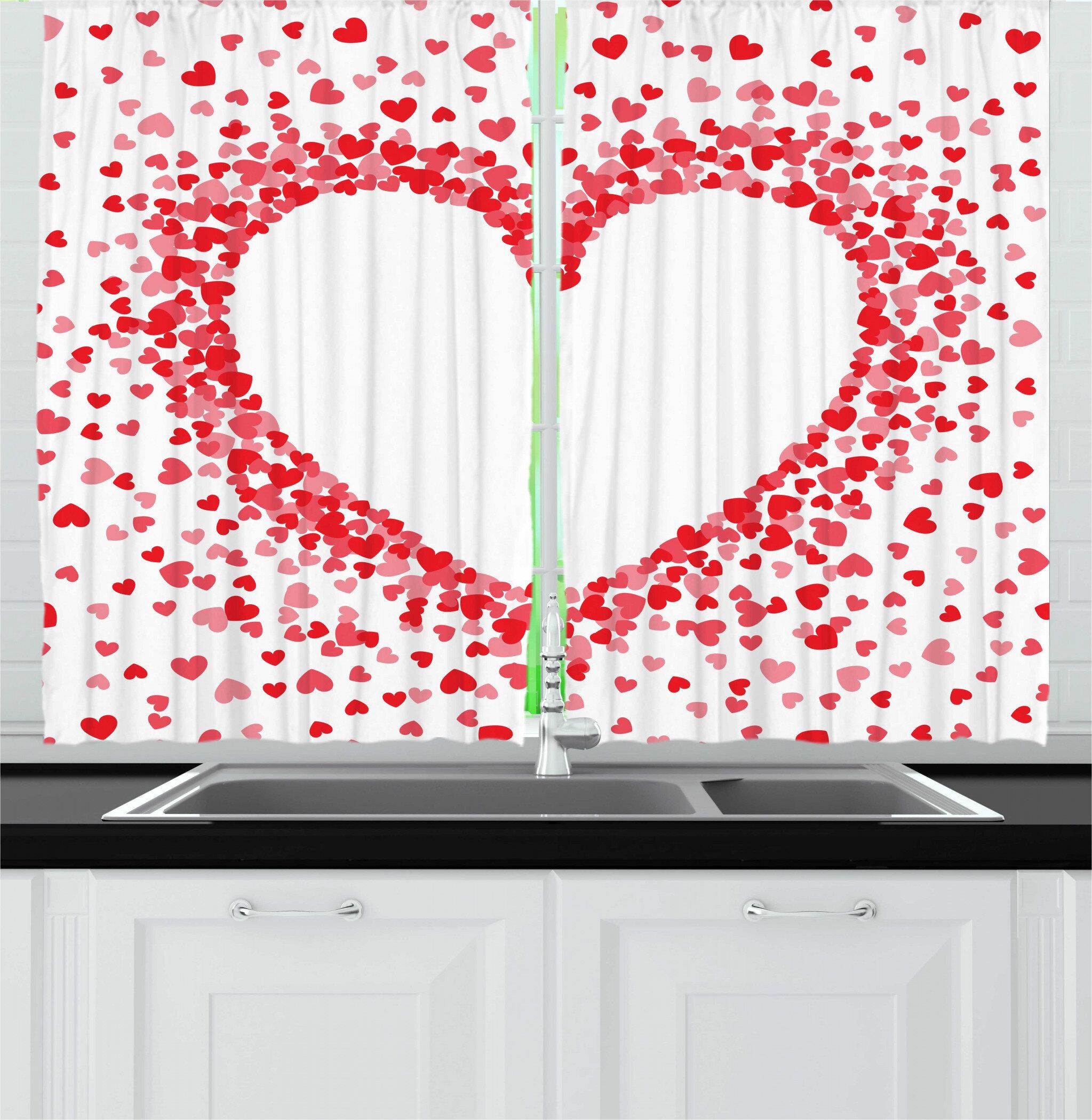 East Urban Home 2 Piece Vintage Valentine Spreading Tiny Bicolor Hearts Making A Big Romantic Shape Kitchen Curtain Set Wayfair