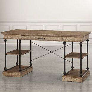 wood desk with metal legs wayfair rh wayfair com metal and wood desk diy metal and wood desk design