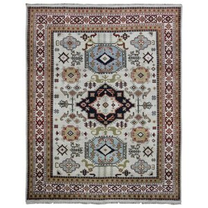 Gable Mountain Kazak Hand-Woven Wool Beige/Blue/Black Area Rug