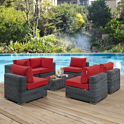 Keiran 7 Piece Sunbrella Sectional Set with Cushions Cushion Color: Red