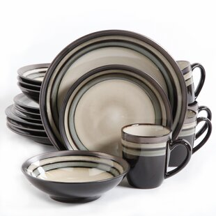 Lakemore 16 Piece Dinnerware Set Service for 4  sc 1 st  Wayfair : white stoneware dinnerware sets - pezcame.com