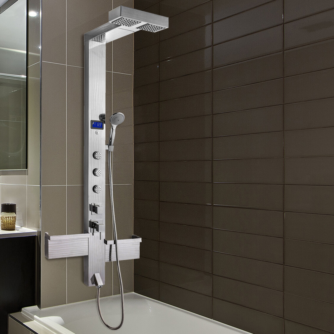 3 Jet Shower Panel System With Rainfall Waterfall Shower Head Led Display And Shampoo Holder