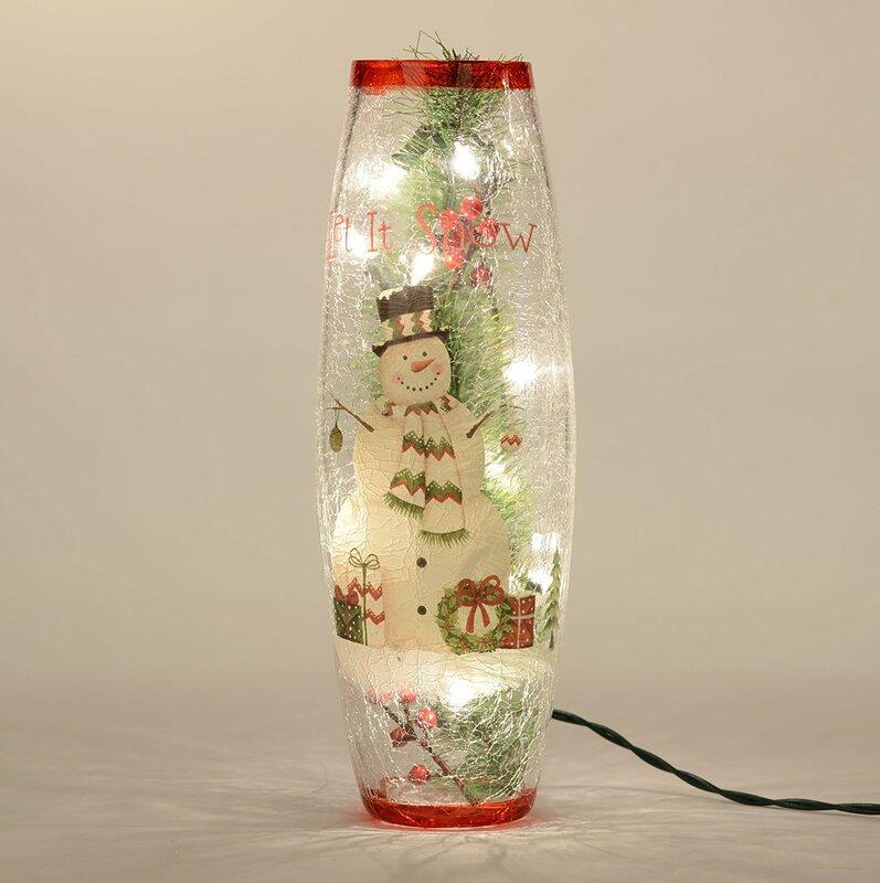 Snowman Lighted Glass Hurricane Lamp