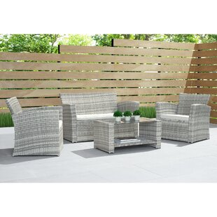 Beliveau 4 Piece Rattan Sofa Seating Group with Cushions by Ivy Bronx