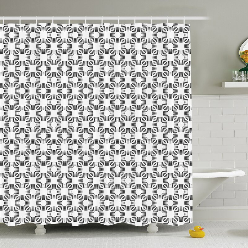 Geometric Circle Vinyl Records Inspired Concentric Rings With Curve Grids Shower Curtain Set