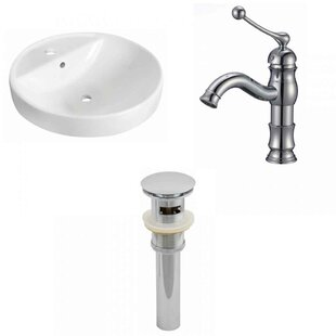 Compare Ceramic Circular Drop-In Bathroom Sink with Faucet and Overflow ByRoyal Purple Bath Kitchen