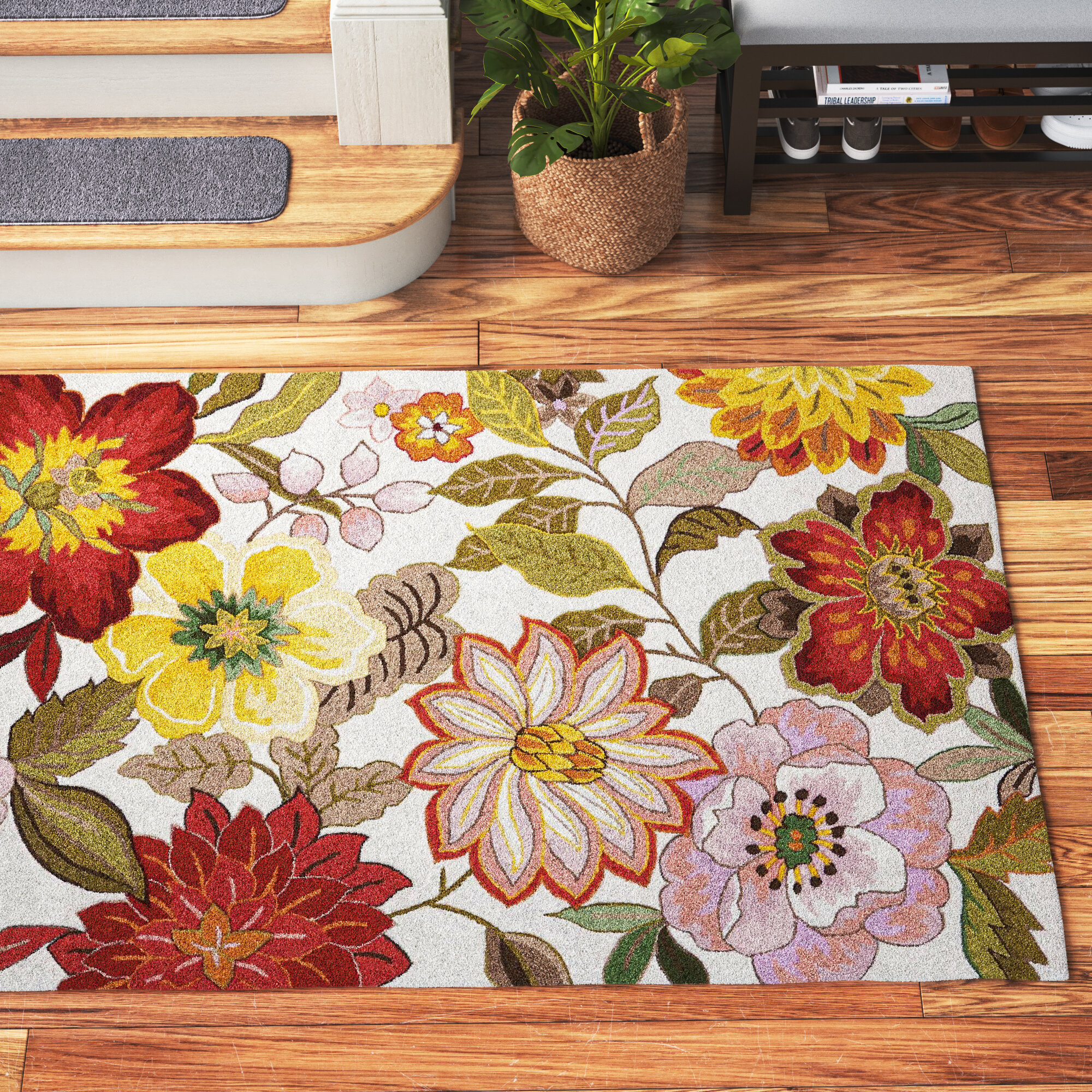 Andover Mills Modoc Hand Hooked Green Red Pink Ivory Rug Reviews Wayfair Ca