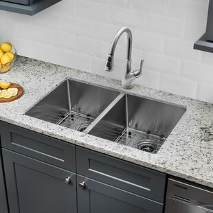 Radius 16 Gauge Stainless Steel 32'' x 19'' 50/50 Double Bowl Undermount Kitchen Sink with Faucet and Soap Dispenser