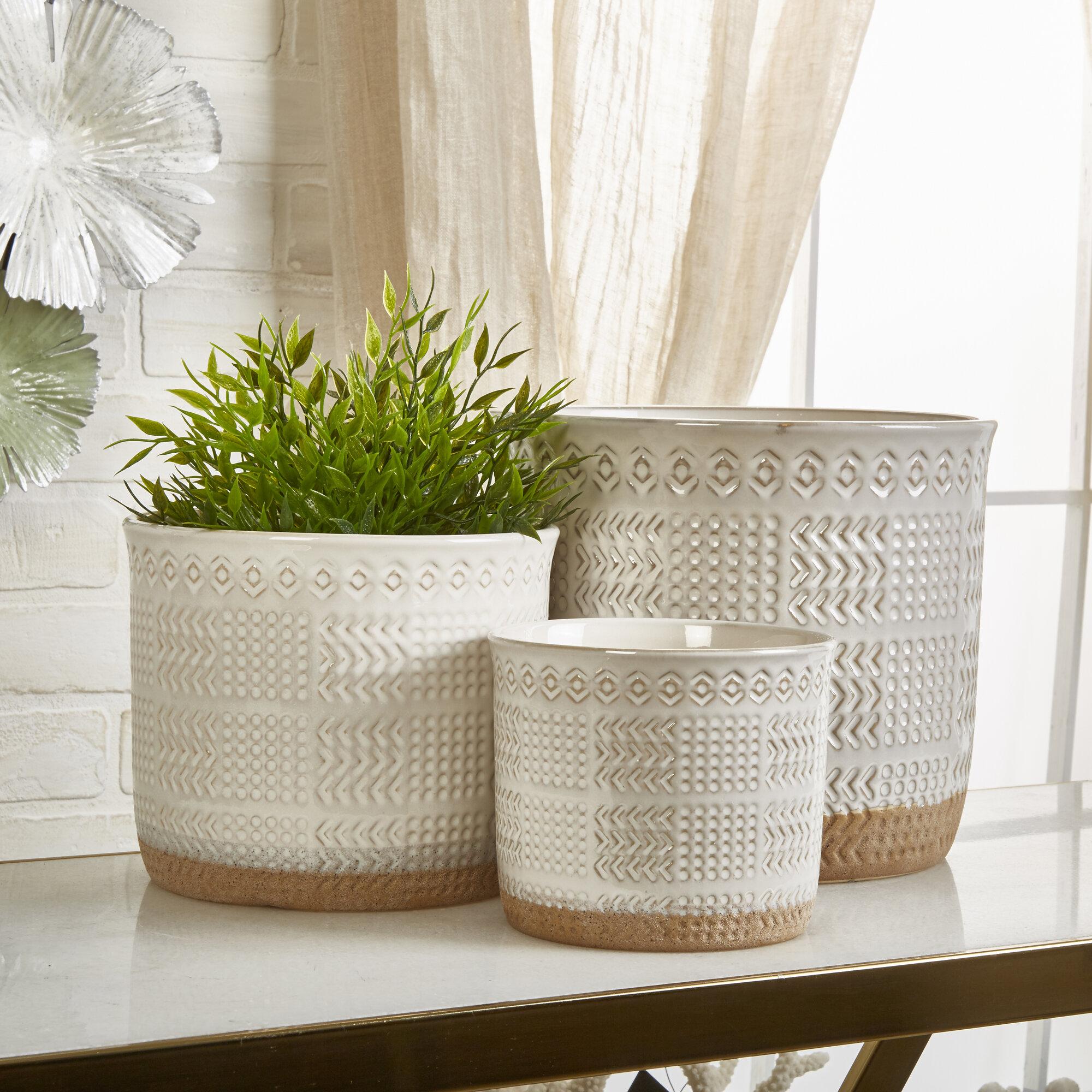 Union Rustic Bakken 3 Piece Ceramic Pot Planter Set Reviews Wayfair