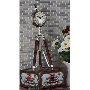 Wood and Aluminum Tripod Table Clock
