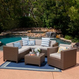 Warwick 6 Piece Rattan Sectional Set With Cushions by Latitude Run Today Only Sale