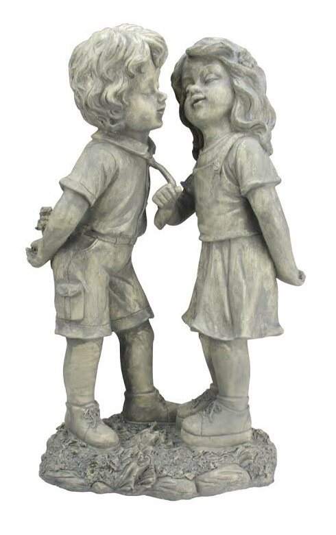 Stone Boy And Girl First Kiss Garden Statue