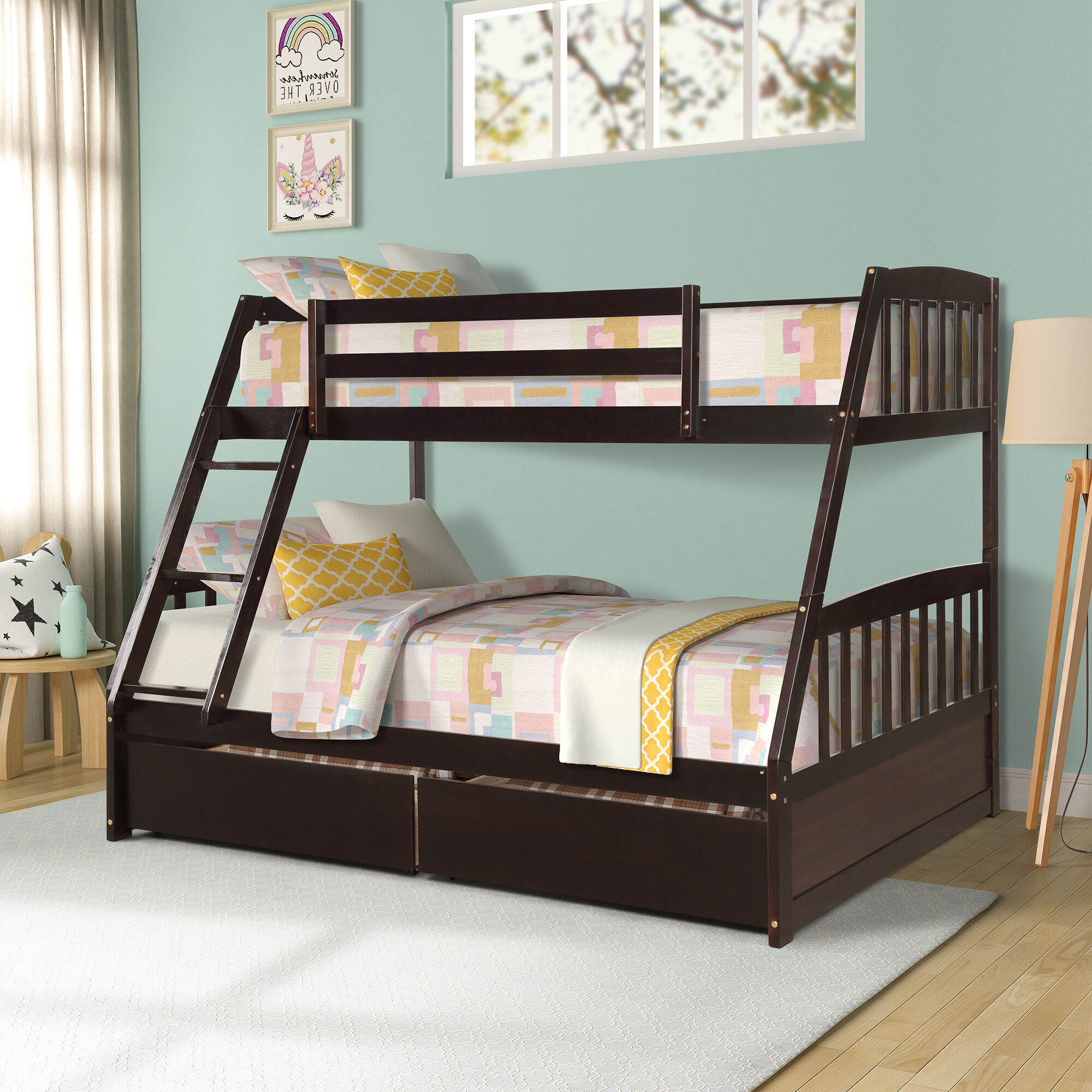 Picture of: Harriet Bee Brockton Twin Over Full Bunk Bed With 2 Drawers Wayfair