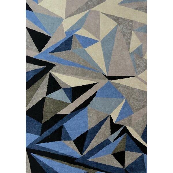Latitude Run Bundella Triangle Gray/Blue Area Rug | Wayfair