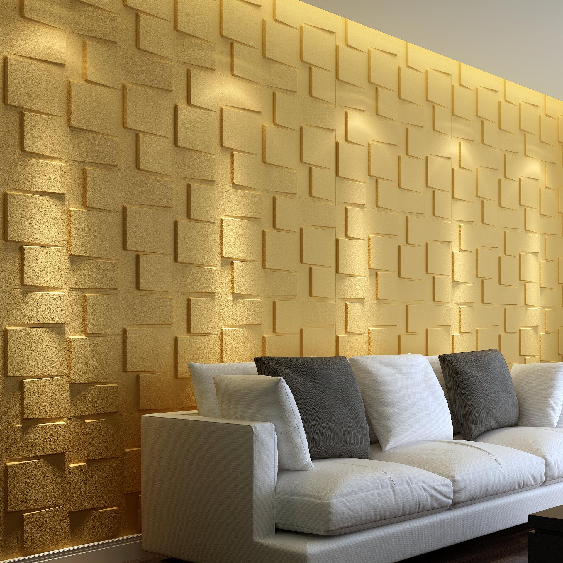 Threedwall 235 2 X 19 6 Blocks Brick 3d Embossed Plant Fibres Wall Paneling Off White Reviews Wayfair