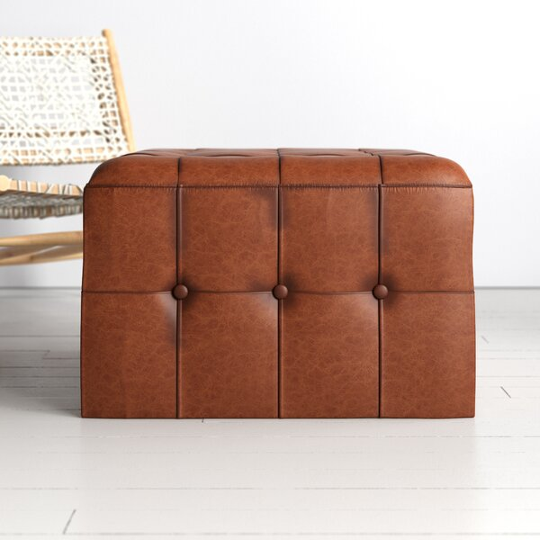 Guidi 27 5 Genuine Leather Tufted Square Cocktail Ottoman Reviews Allmodern