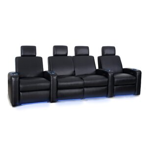 Latitude Run Leather Home Theater Configurable Seating (Row of 3)