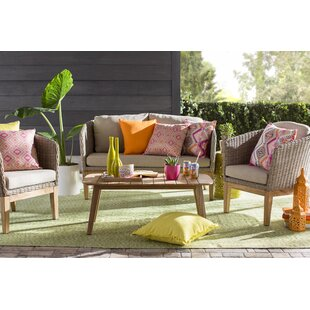Gracie Oaks Patterson 4 Piece Teak Sofa Set with Cushions