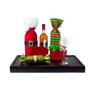 4 Piece Christmas Stockings Or Wine Bags Santa And Elf Boots By Imperial Home