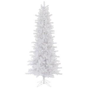 12 slim crystal white pine christmas tree with stand - White Slim Christmas Tree