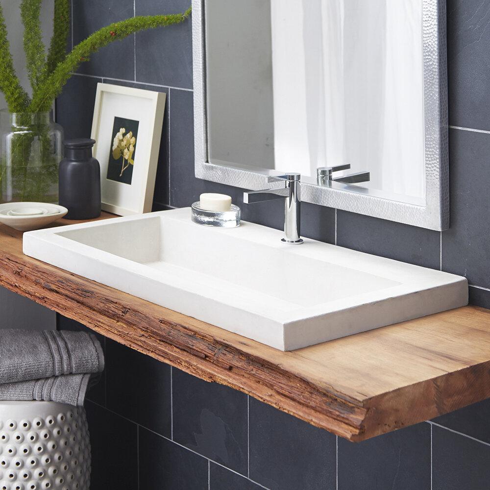 Native Trails Trough Stone Rectangular Drop-In Bathroom Sink   Wayfair