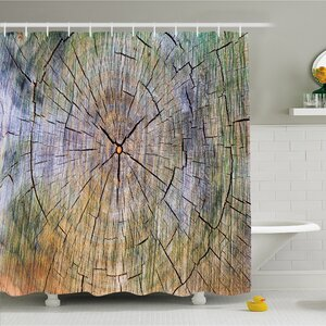 Rustic Home Rings of Wood Growth Inner Tree Body Branch Whorls Design Shower Curtain Set