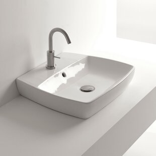 Great Price H10 Ceramic Rectangular Vessel Bathroom Sink with Overflow By WS Bath Collections