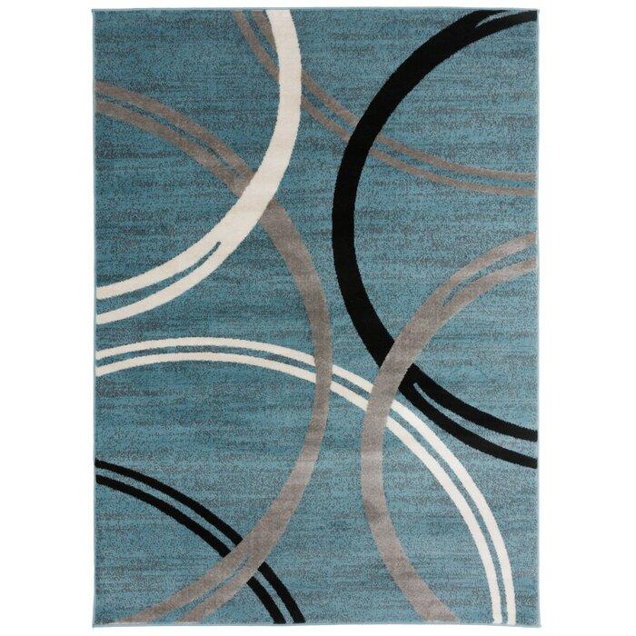 Neal Contemporary Abstract Circles Design Blue Area Rug