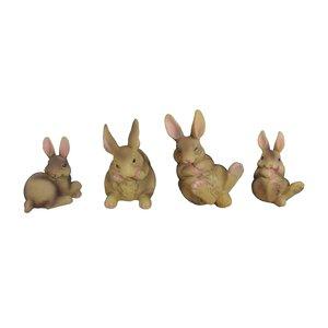 4 Piece Assorted Bunny Figurine Set