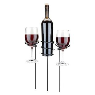 True Brands Picnic Stix Tabletop Wine Glass and Bottle Rack