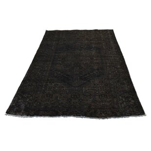Affordable One-of-a-Kind Caenada Overdyed Worn Hand-Knotted 4' x 6'3 Wool Black Area Rug By Isabelline