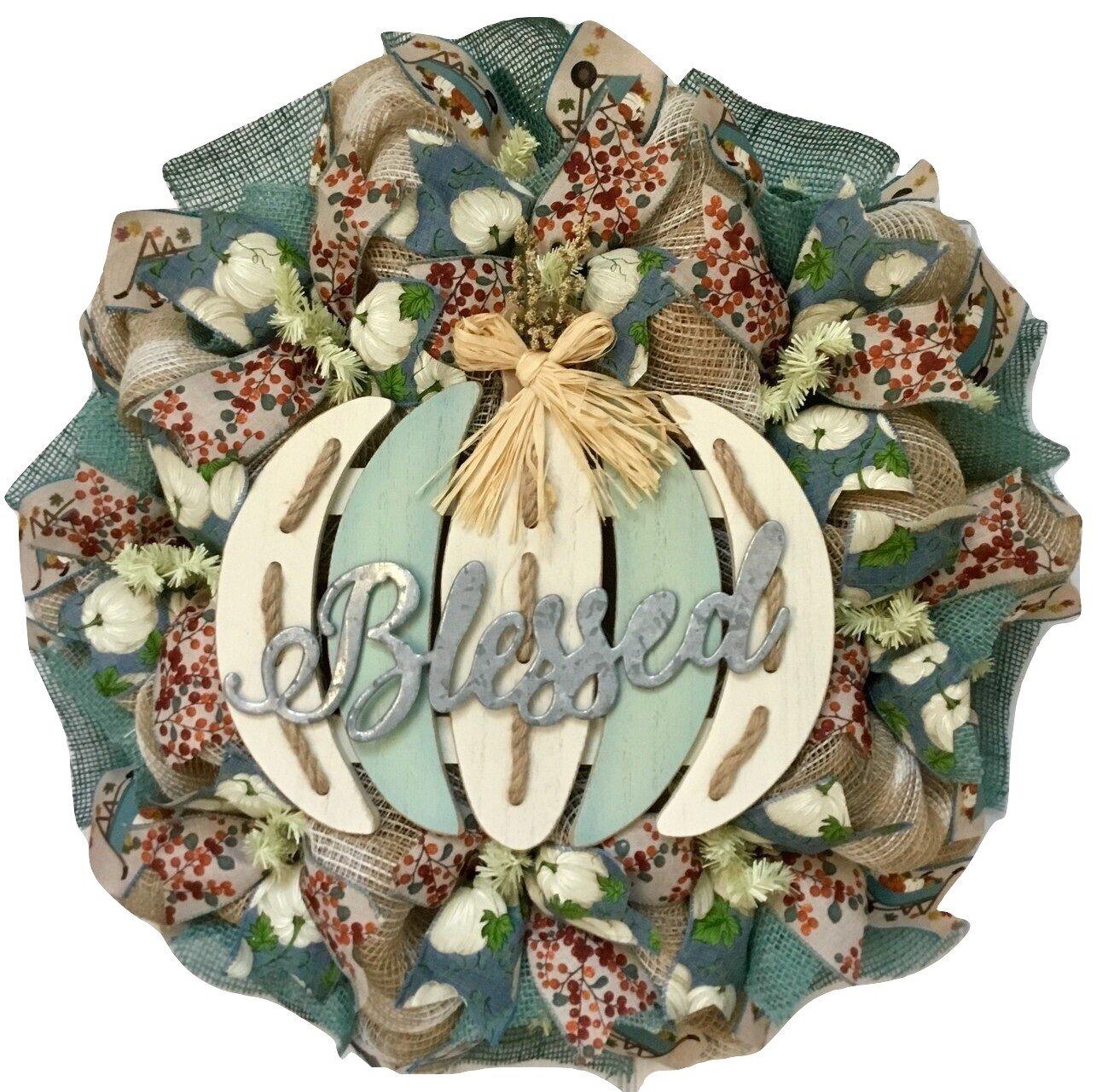 The Holiday Aisle Blessed Slotted Pumpkin Harvest Deco 24 Acrylic Wreath Wayfair