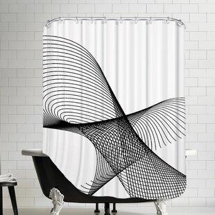 Price comparison Line Swirl 3 Cotton Shower Curtain ByEast Urban Home