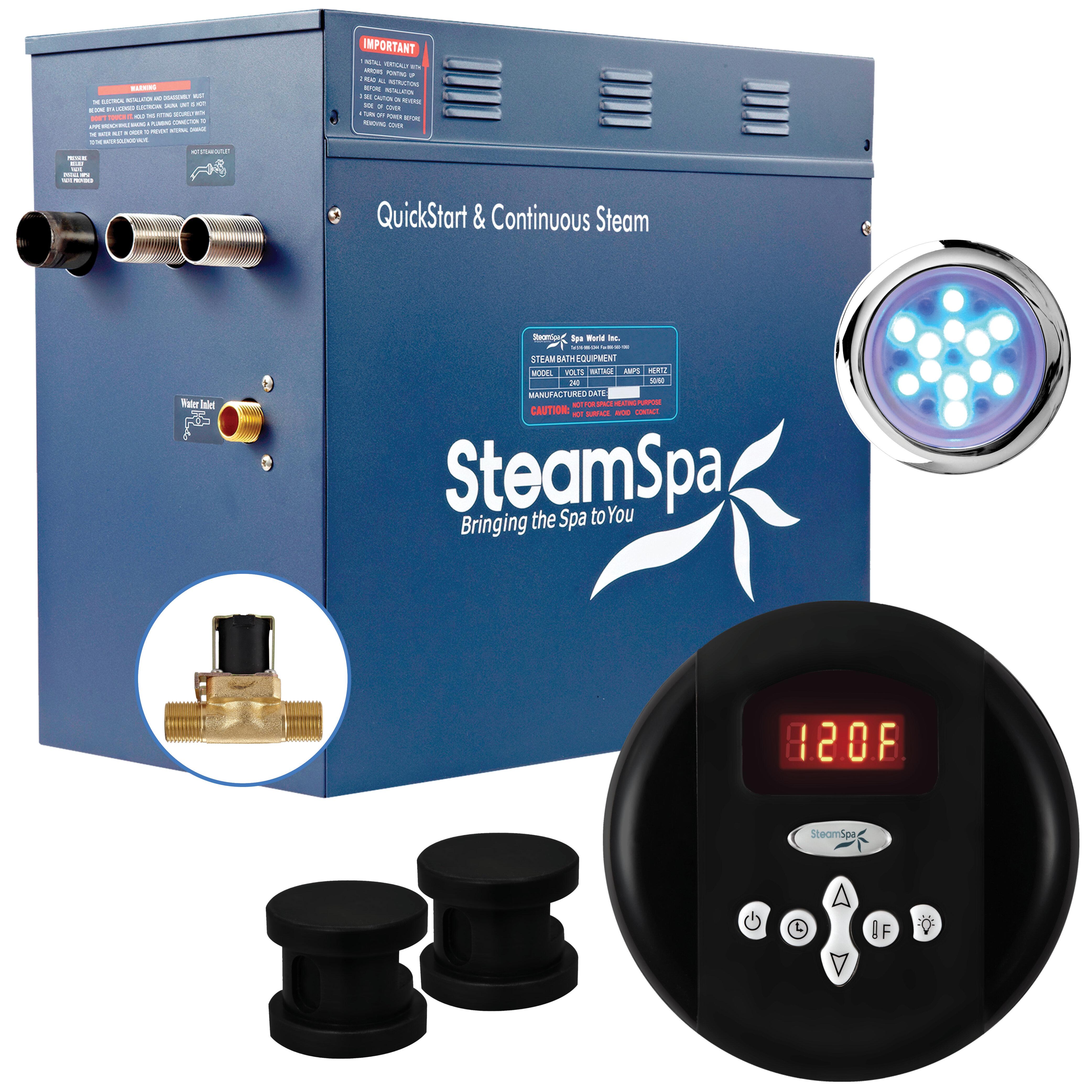 Steam Spa Indulgence 10 5 Kw Quickstart Steam Bath Generator Package With Built In Auto Drain Wayfair