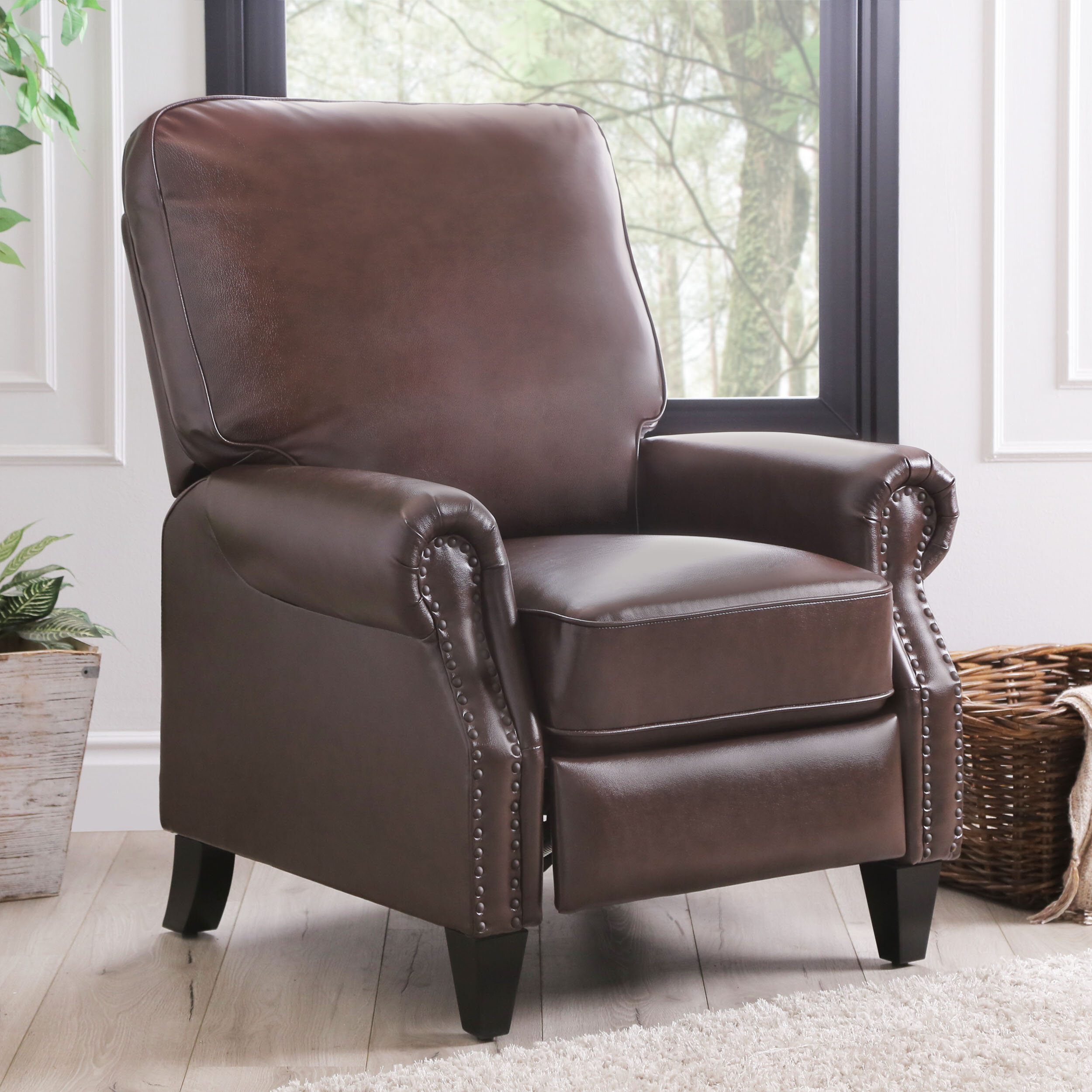 Three Posts Hoopeston 33 6 Wide Faux Leather Manual Club Recliner Reviews Wayfair