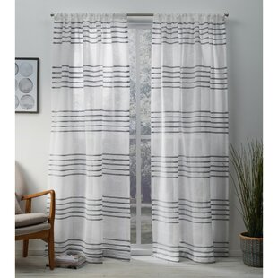 Winterbourne Down Striped Sheer Rod Pocket Curtain Panels (Set of 2)