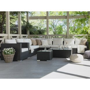 Cassia 7 Seater Rattan Sectional Seating Group with Cushions